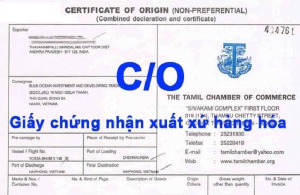 Các loại giấy chứng nhận xuất xứ 1