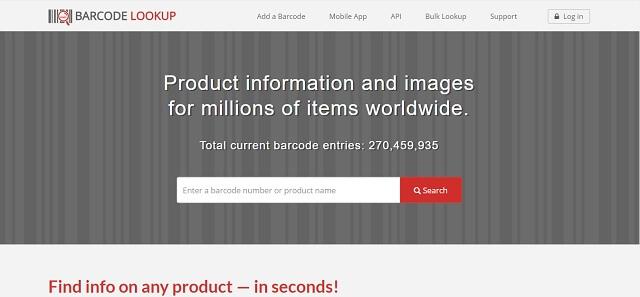 Kiểm tra mã vạch hàng hóa với Barcode lookup